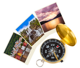 Norway travel images and compass (my photos)