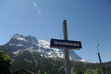 grindelwald train station with Eiger view