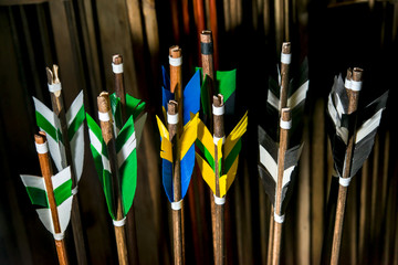 Feathering arrows for archery, which are in the quiver