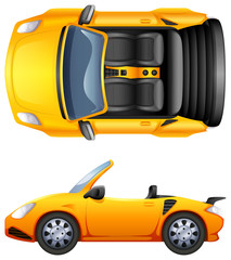 A top and side view of a sports car