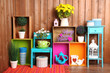 Leinwanddruck Bild - Beautiful colorful shelves with different home related objects
