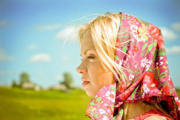 Portrait  beautiful girl in  kerchief