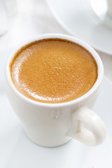 cup of espresso, close-up, top view
