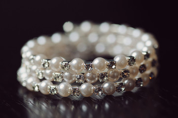 Closeup of Pearl Bracelet