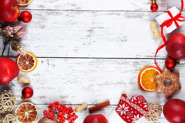 Christmas frame with apples, cookies and decorations