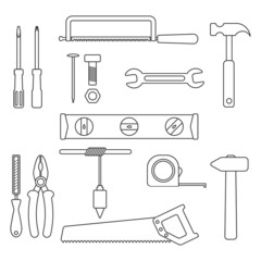 set of black outline tools