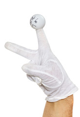 Hand in white glove and angry finger puppet
