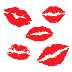 Print of red lips kiss xoxo Vector illustration