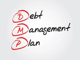 Debt Management Plan (DMP), vector business acronym