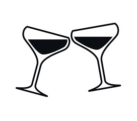 Clinking Glasses of Champagne, Vector Illustration