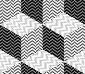 Striped Rhombuses, 3D Cubes Illusion, Vector Seamless Pattern