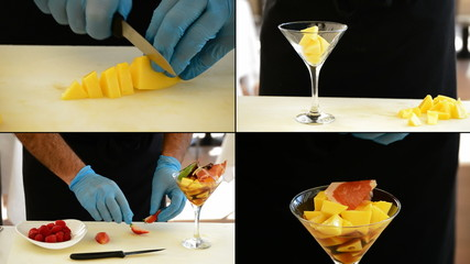 Hands of professional chef making a cocktail in 4K format