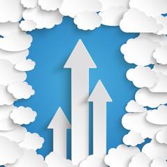 White Paper Clouds Blue Sky Centre 3 Arrows