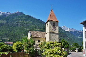 Italian Alps-view to church in Plaus