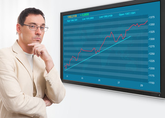 man and stock market graph on digital screen