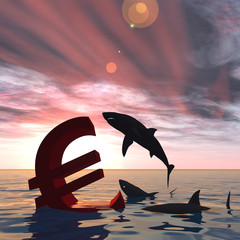 Conceptual business crisis with euro symbol