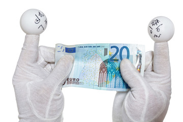 Two finger puppets holding twenty euro note
