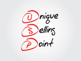 Unique Selling Point (USP), vector business acronym poster