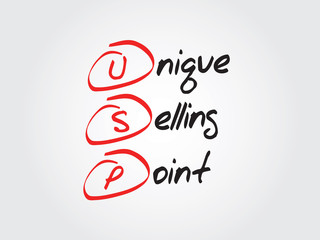 Unique Selling Point (USP), vector business acronym