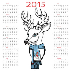 New year 2015 calendar with reindeer