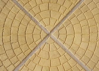Pavement of yellow decorative tiles