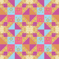 Patchwork seamless retro pattern texture background