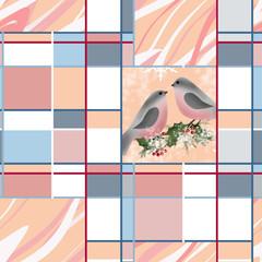 Bullfinch on branch holly greeting christmas card texture backgr