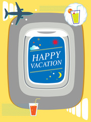 Airplane window summer travel concept illustration