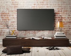 mock up tv screen in vintage loft interior background