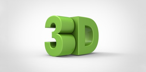 green Metallic 3D logo  with reflection effect