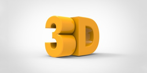 yellow Metallic 3D logo  with reflection effect