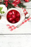 Traditional polish clear red borscht with dumplings and - 74420533