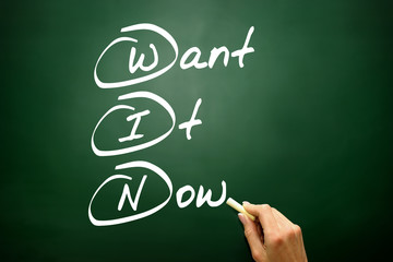 Want It Now (WIN), business concept on blackboard