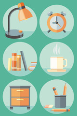 Office objects and elements of workplace icon set
