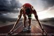 Leinwanddruck Bild - Sports background. Runner.