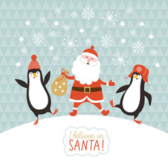 cute penguins and Santa