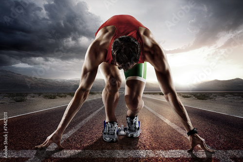 Poster Sports background. Runner.