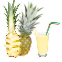 Glass of fresh pineapple milkshake isolated on white background