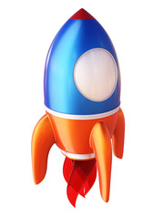 Abstract 3d rocket isolated on white background.