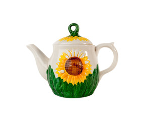 Ceramic teapot with sunflower isolated over white