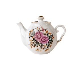 Porcelain teapot with floral ornament  on white