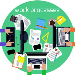 Working process of business team concept