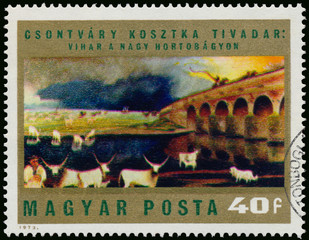 Stamp printed in Hungary shows Picture by Csontvary