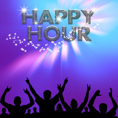 Happy Hour poster gleams on blue-purple haze