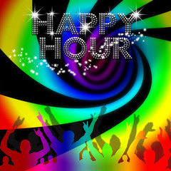 Happy Hour poster rainbow spinning vortex