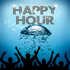 Happy Hour poster underwater diving bubbles