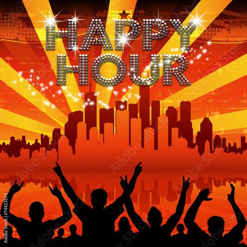 Happy Hour poster red city skyline sunburst