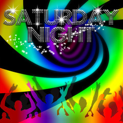 Saturday Night poster rainbow spinning vortex