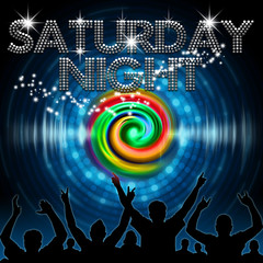 Saturday Night poster round blue dot equalizer rainbow vortex