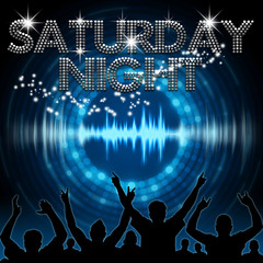 Saturday Night poster blue graphic digital sound
